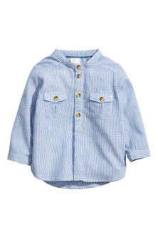 Grandad-collar cotton shirt